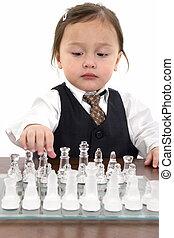 menina, xadrez, criança