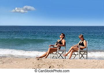 meninas, 2, praia