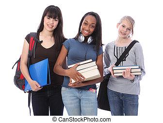 meninas adolescentes, três, estudante, étnico, educação