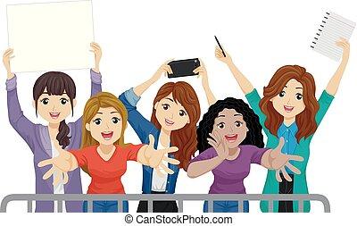 meninas adolescentes, ventiladores, ilustração