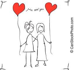meninas, amor, cartão cumprimento