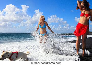 meninas, areia, feliz, praia, pretas