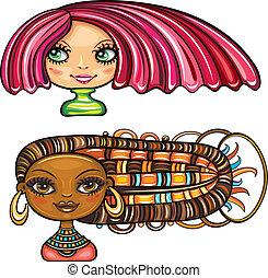 meninas bonitas, com, cabelo, estilos, 1