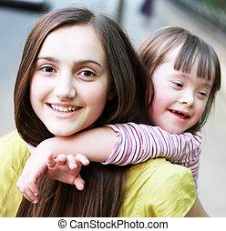 meninas bonitas, parque, jovem, retrato