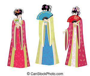 meninas bonitas, trajes, asiático