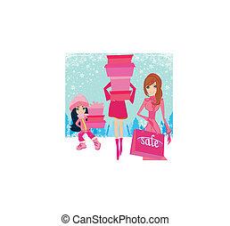 meninas, caixas, moda, shopping, presente