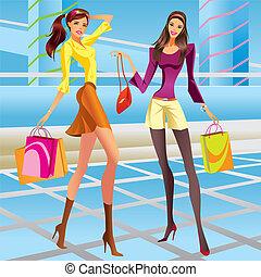 meninas, centro comercial, moda, shopping