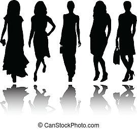 meninas, cobrança, com, reflexão