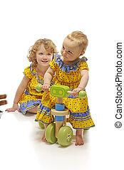 meninas, com, brinquedos