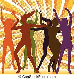 meninas dançantes, com, raio, fundo