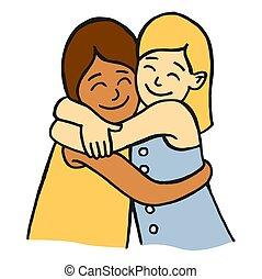 meninas, dois, abraçando, jovem, sorrindo, amigos