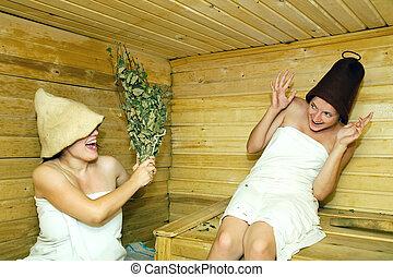 meninas, em, sauna