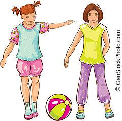 meninas, esboço, bola, -