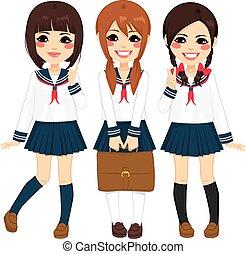meninas escola, japoneses, uniforme