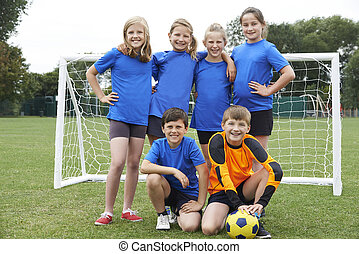 meninas escola, meninos, equipe, elementar, futebol