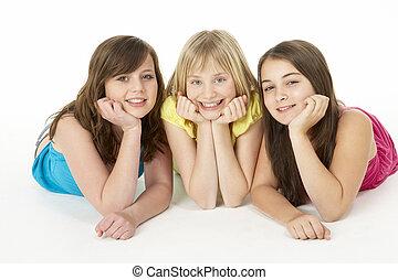 meninas, estúdio, grupo, três, jovem
