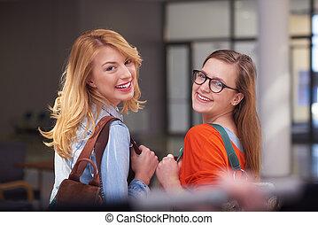 meninas, estudante, feliz