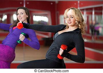 meninas, faça, peso-levantar, exercícios