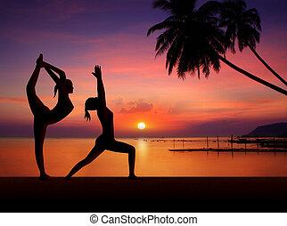 meninas, fazendo, ioga