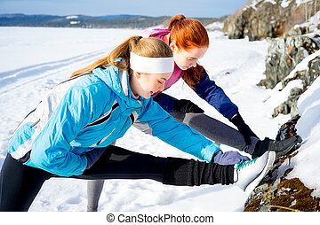 meninas, fazendo, pilates
