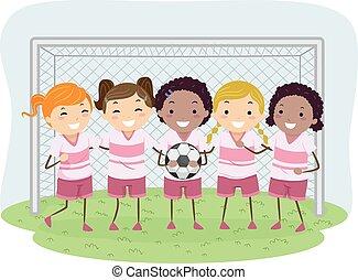 meninas, futebol, stickman, crianças