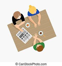 meninas, gossiping., meninas, communicate., meninas, talk., pequeno almoço, almoço, ou, jantar., gossip., a, conversações, em, a, tabela., reunião, amigos