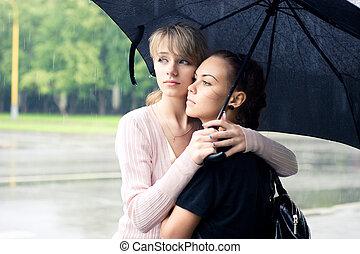 meninas, guarda-chuva, dois, sob