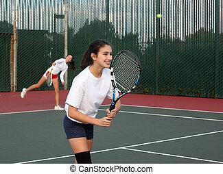 meninas, jogando tênis