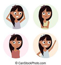 meninas, jogo, ilustração, isolado, branco, experiência., crianças, caráteres, cartoon.