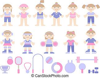meninas jovens, em, esportes