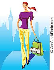 meninas, moda, shopping