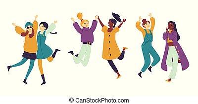 meninas, mulheres, asiático, fun., partido., tendo, desfrutando, dançar, dançarinos, femininas, dança, jovens