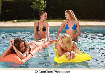 meninas, piscina, natação