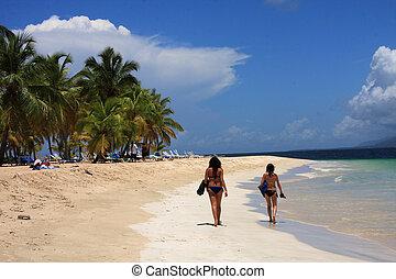 meninas, praia, caraíbas