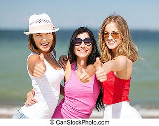 meninas, praia, grupo, chilling