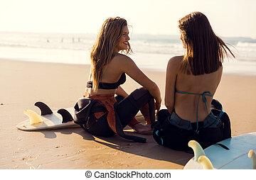 meninas, praia, surfista