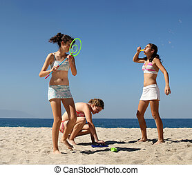 meninas, praia, tocando