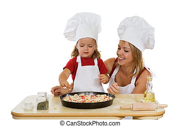 meninas, preparar, pizza