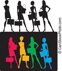 meninas, silhuetas, shopping
