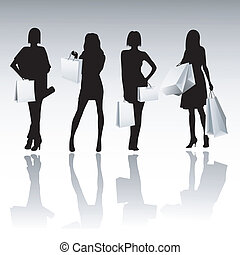 meninas, silueta, shopping