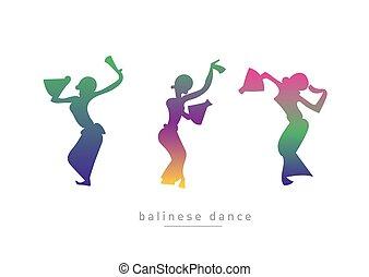 meninas, silueta, três, dançar