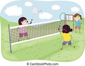 meninas, stickman, badminton, parque