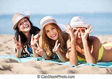 meninas, sunbathing, praia