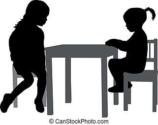 meninas, tabela., sentando