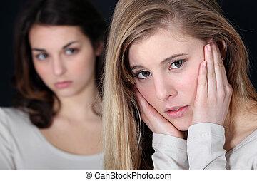 meninas, tendo, luta