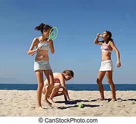 meninas, tocando, praia
