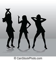 meninas, três, discoteca