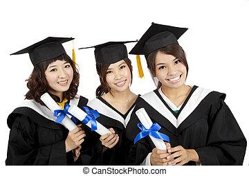 meninas, três, graduação, asiático