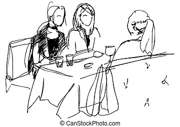 meninas, três, tabela, pyut, café, vinho