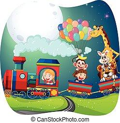 meninas, trem, animais